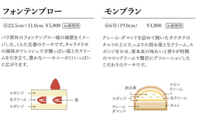 フォンテンブロー 23.5cm×11.0cm    5,800円 モンブラン 6号(19.0cm)    4,800円